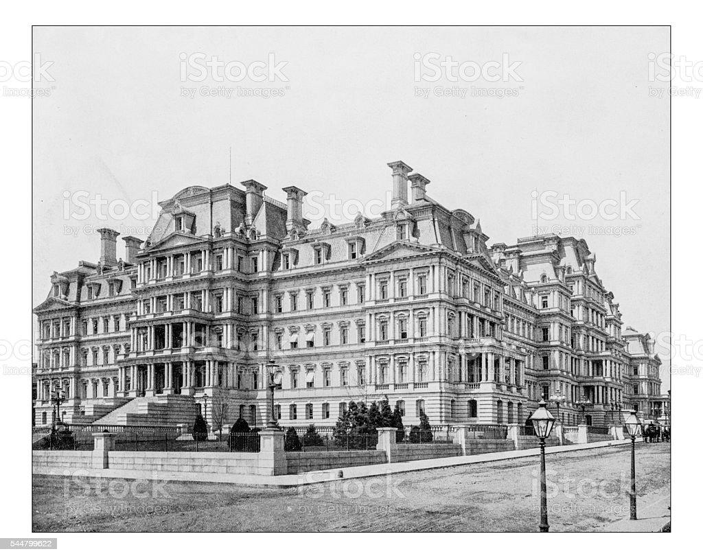 Antique photograph of Eisenhower Executive Office Building(Washington,D.C.,USA)-19th century stock photo