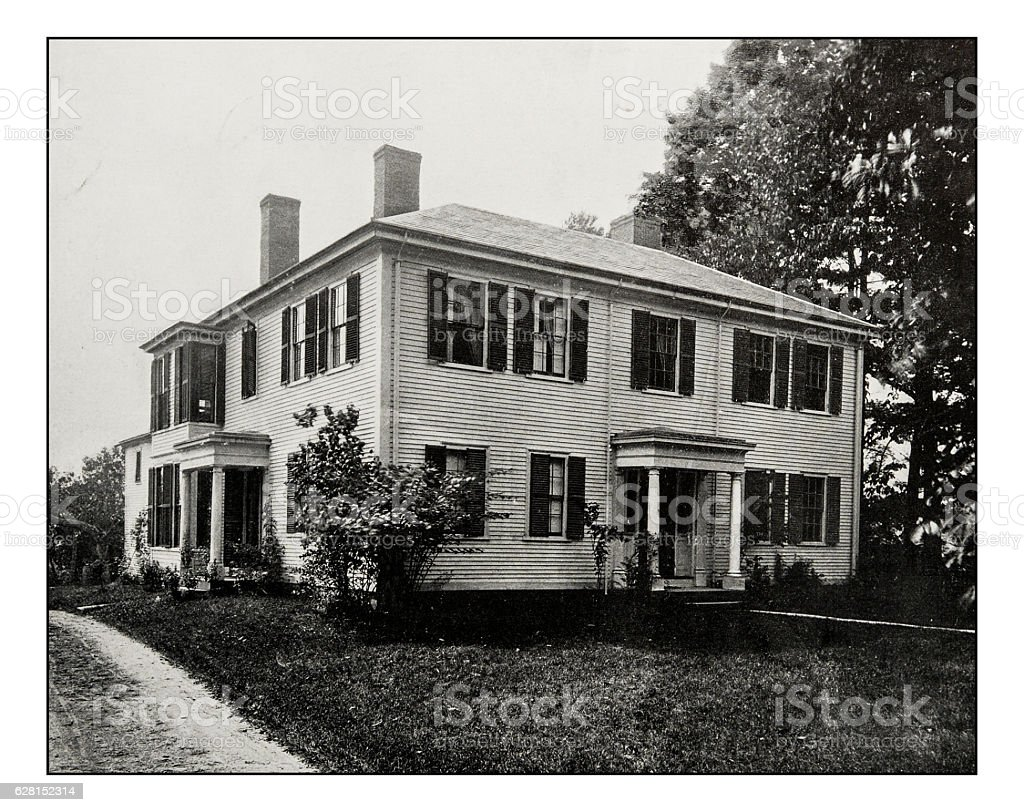 Antique photograph of Emerson House, Concord stock photo