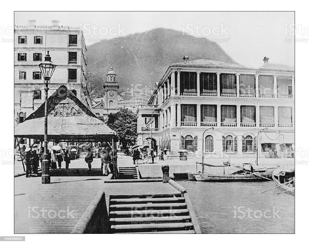 Antique photograph of English buildings in Hong Kong (China)-19th century stock photo