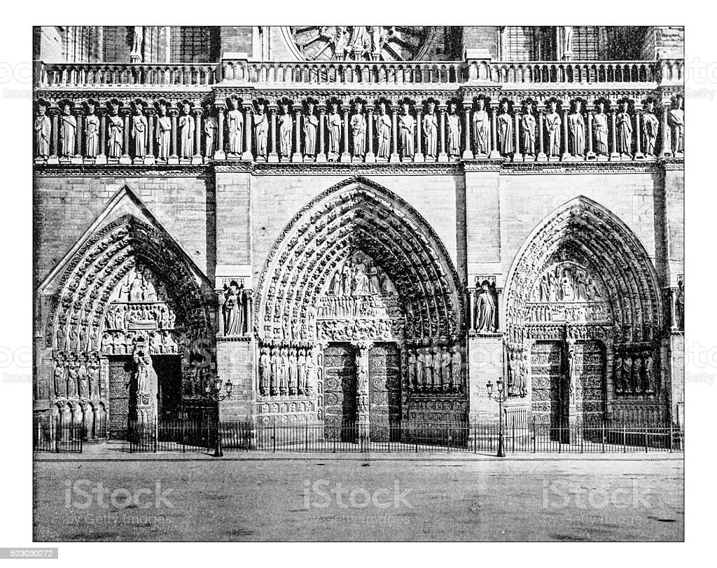 Antique photograph of entrance to Notre Dame cathedral (Paris,France) stock photo