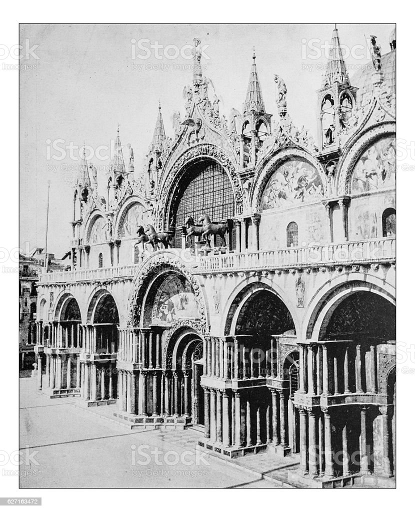 Antique photograph of facade of St. Mark's Basilica (Venice,Italy) stock photo