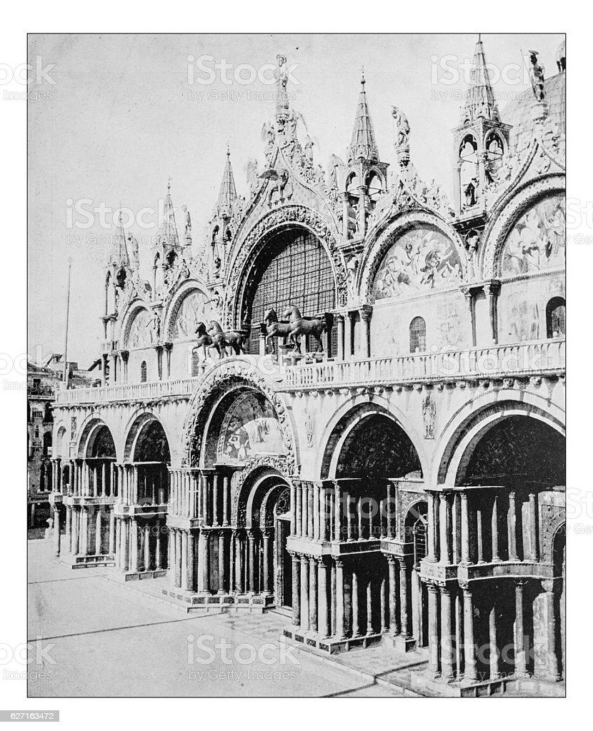 Antique photograph of facade of St. Mark's Basilica (Venice,Italy) stock photo
