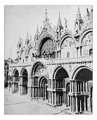 Antique photograph of facade of St. Mark's Basilica (Venice,Italy)
