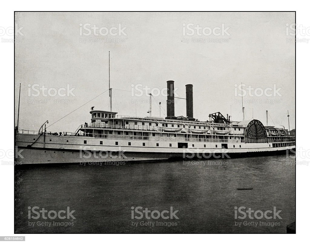 Antique photograph of 'Fall river' steamer stock photo