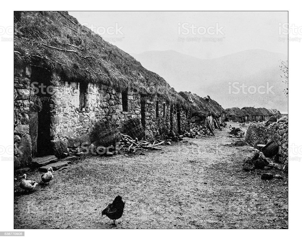 Antique photograph of farms in the Shetland Island (Scotland)-19th century stock photo