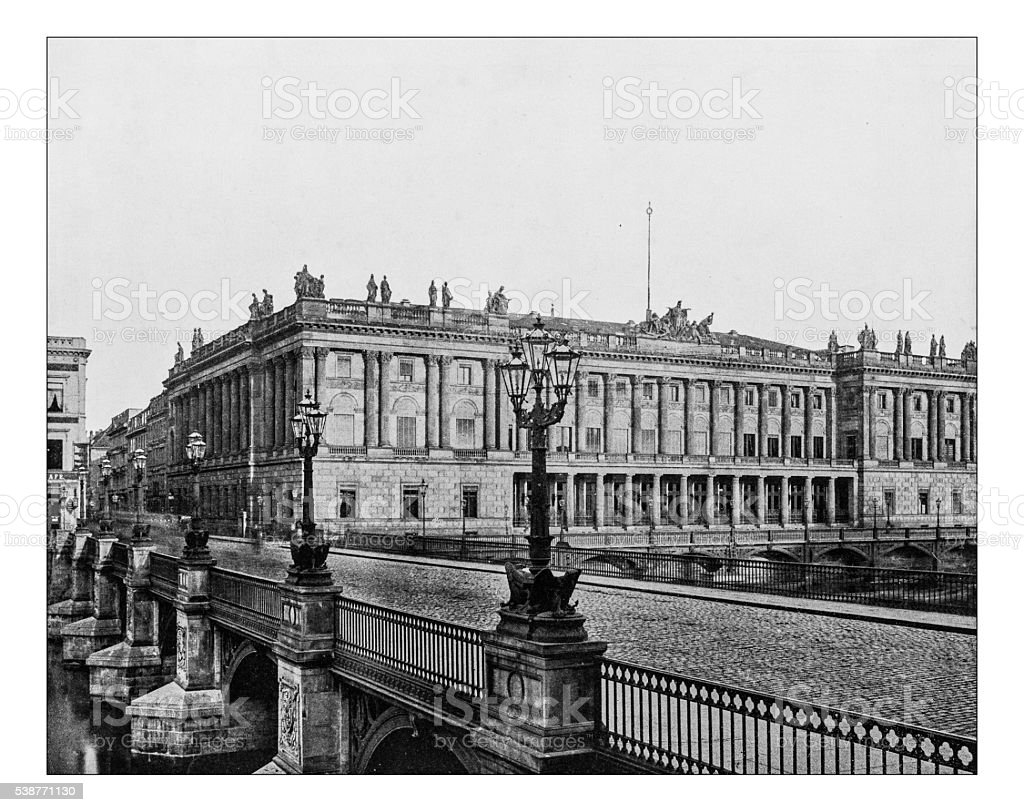 Antique photograph of former  Berlin stock exchange (Germany) in 1886 stock photo