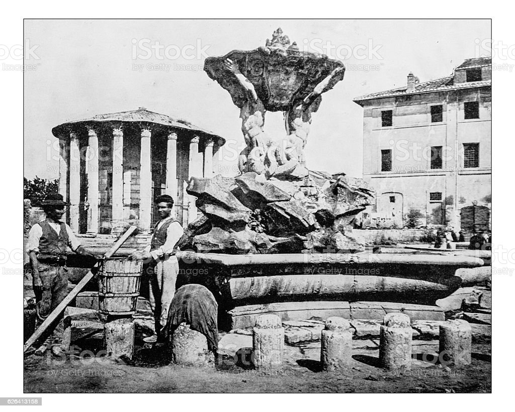 Antique photograph of Fountain of Tritons-temple of Hercules(Rome,Italy)-19th century stock photo
