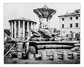 Antique photograph of Fountain of Tritons-temple of Hercules(Rome,Italy)-19th century