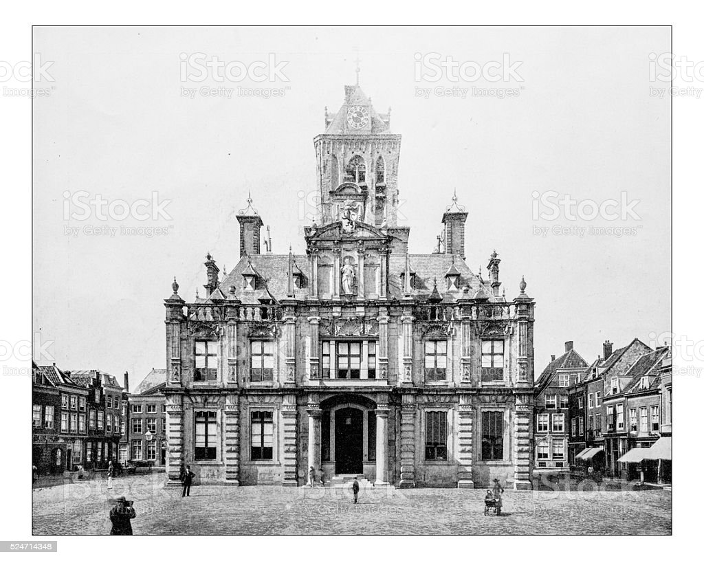 Antique photograph of front view of the City Hall (Delft) stock photo