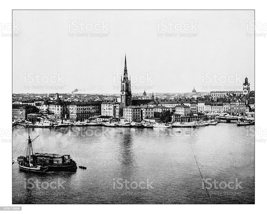 Antique photograph of Gamla Stan-Stockholm (Sweden) -19th century stock photo