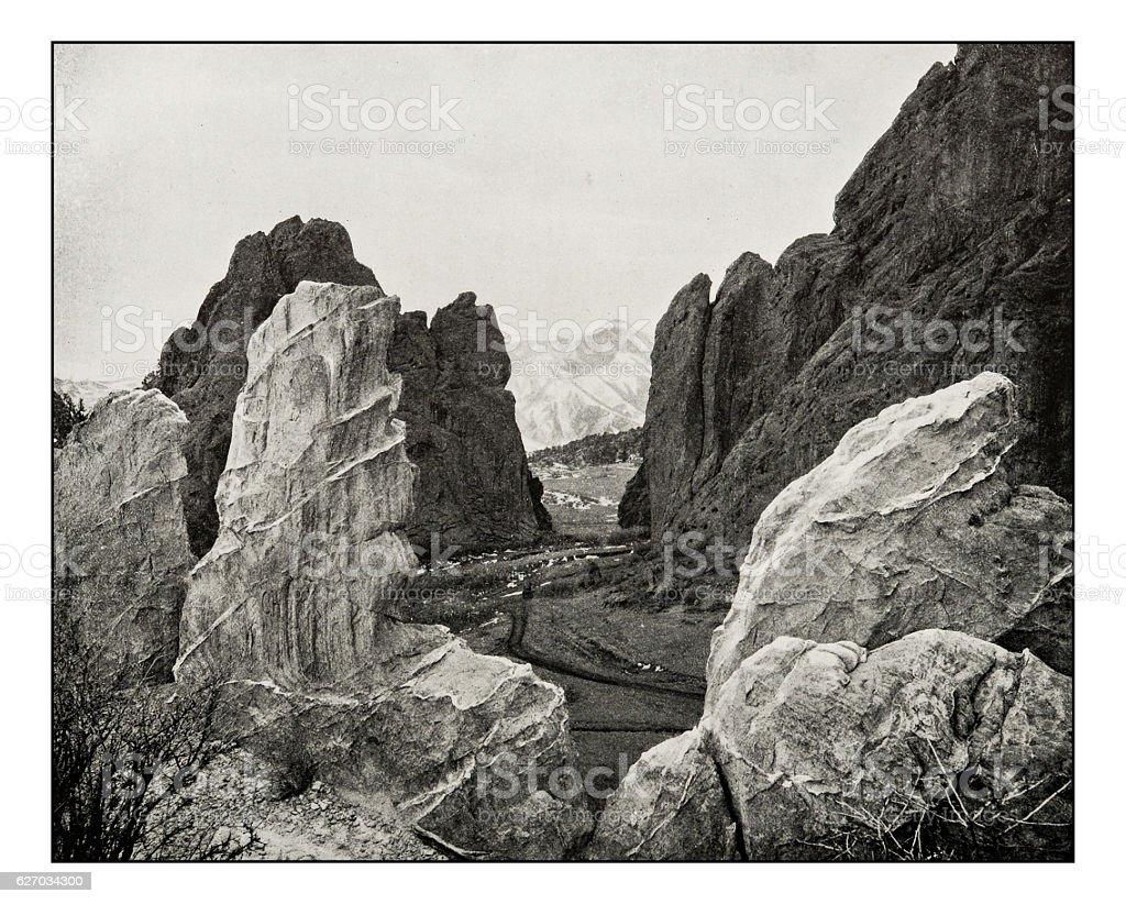 Antique photograph of garden of the gods, Colorado stock photo