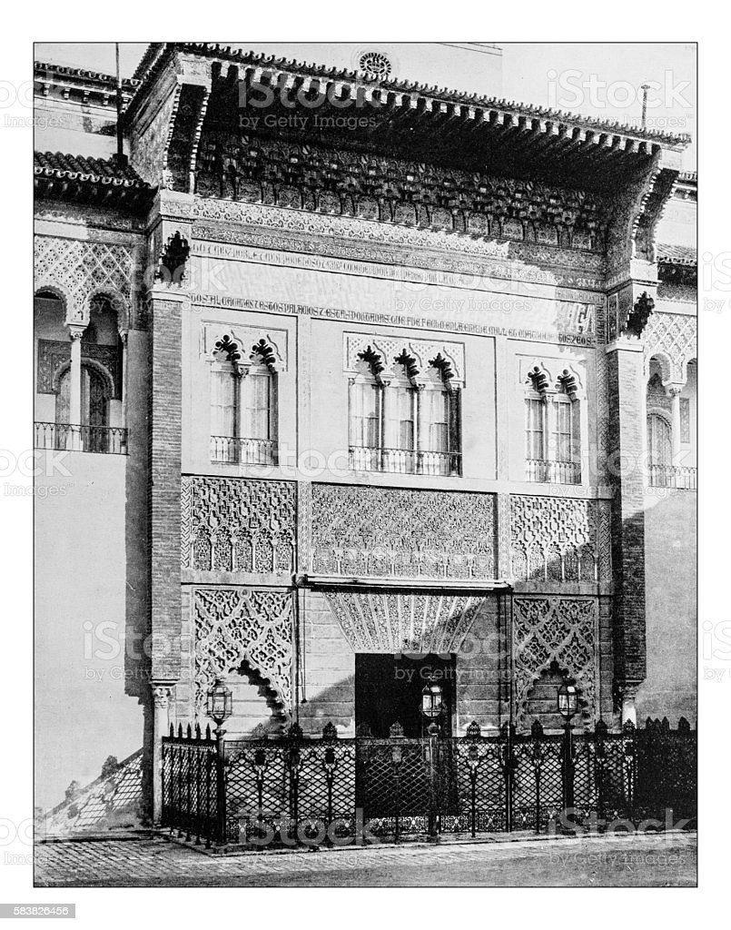 Antique photograph of gate of Alcazar of Seville (Spain)-19th century stock photo