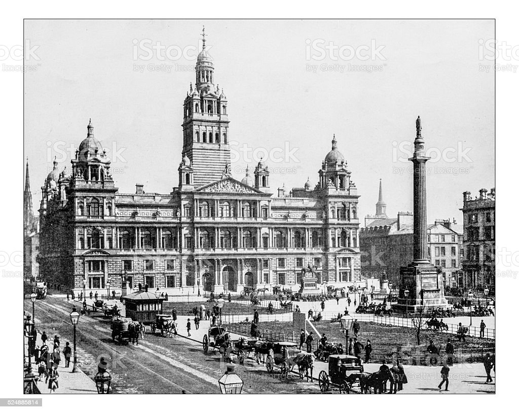 Antique photograph of George Square (Glasgow, Scotland), 19th century stock photo
