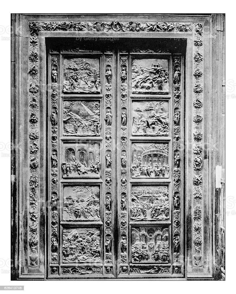 Antique photograph of Ghiberti bronze door (Florence Baptistry) stock photo