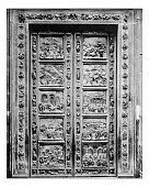 Antique photograph of Ghiberti bronze door (Florence Baptistry)