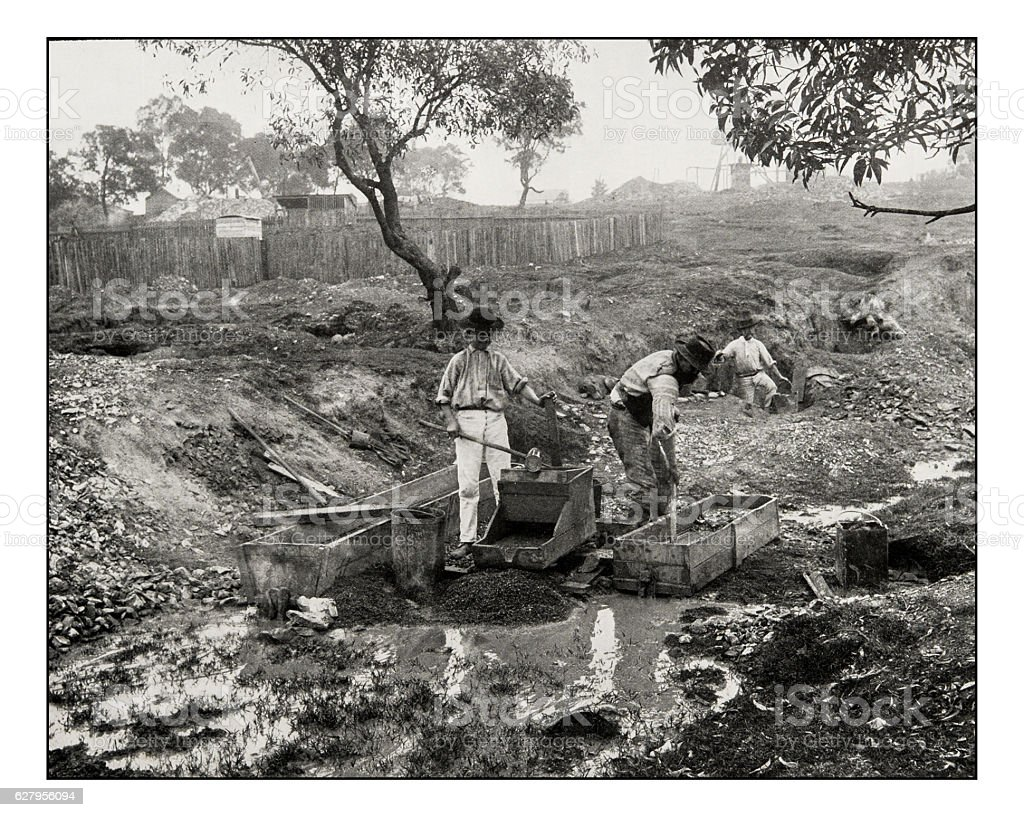 Antique photograph of Gold digging in Australia stock photo