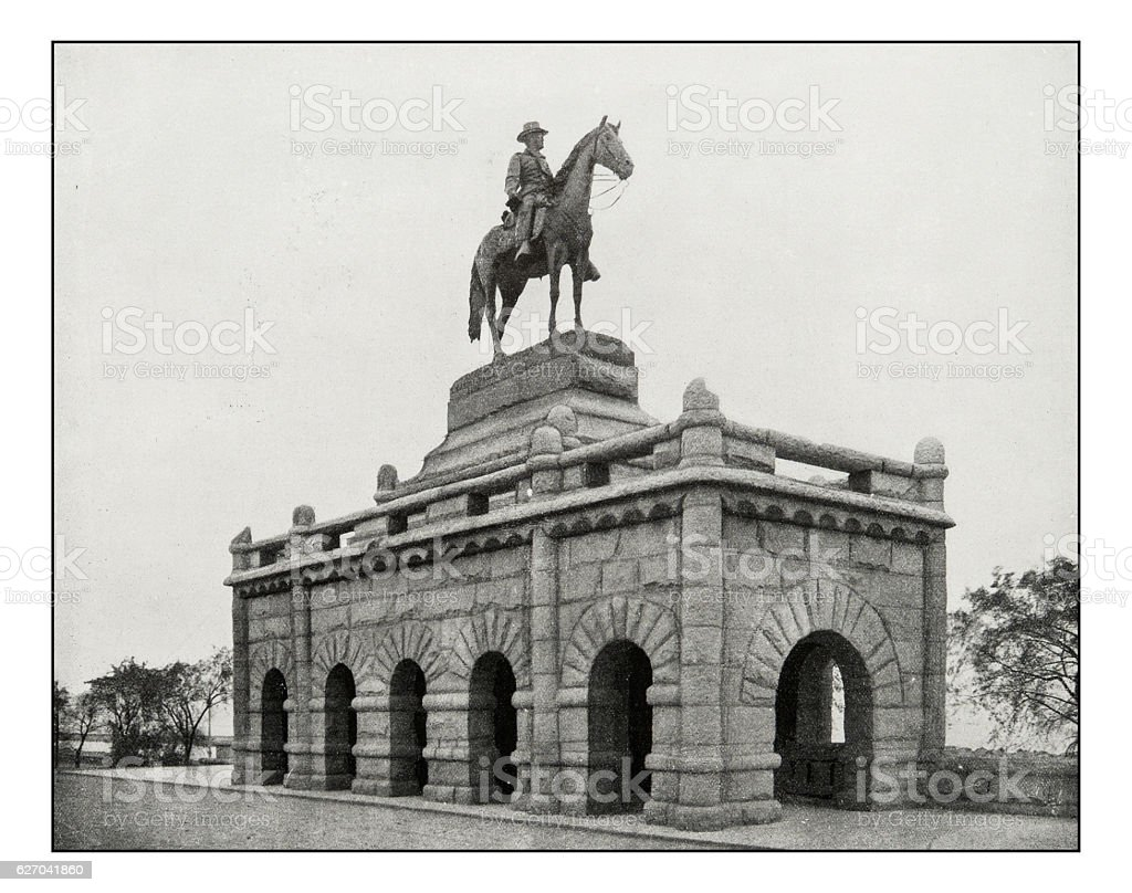 Antique photograph of Grant's Statue in Lincoln Park, Chicago stock photo