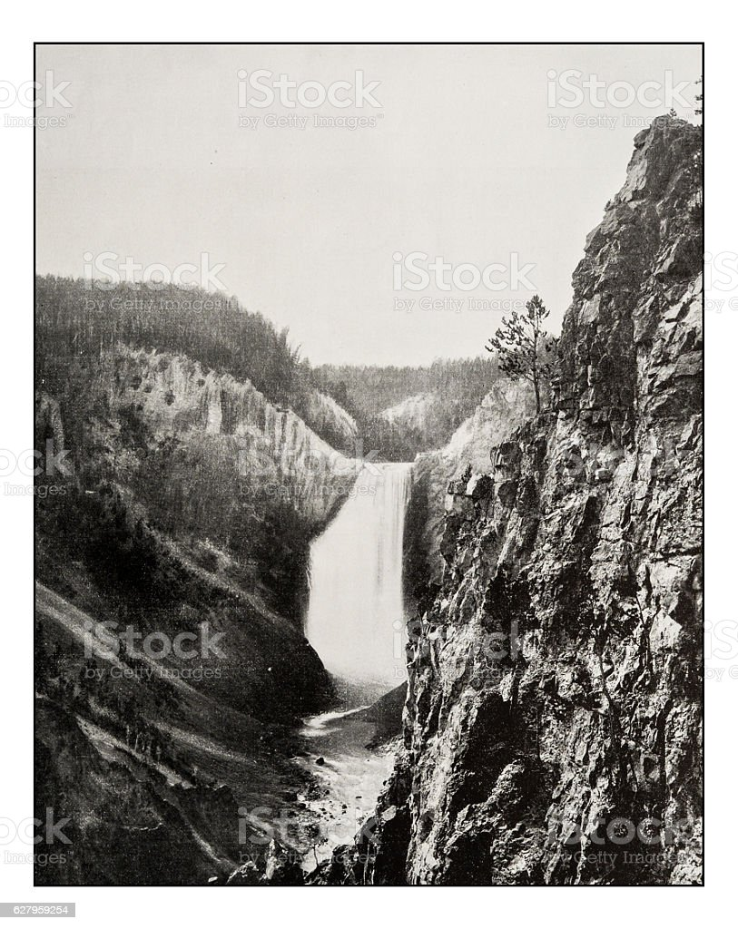 Antique photograph of great falls of the Yellowstone stock photo