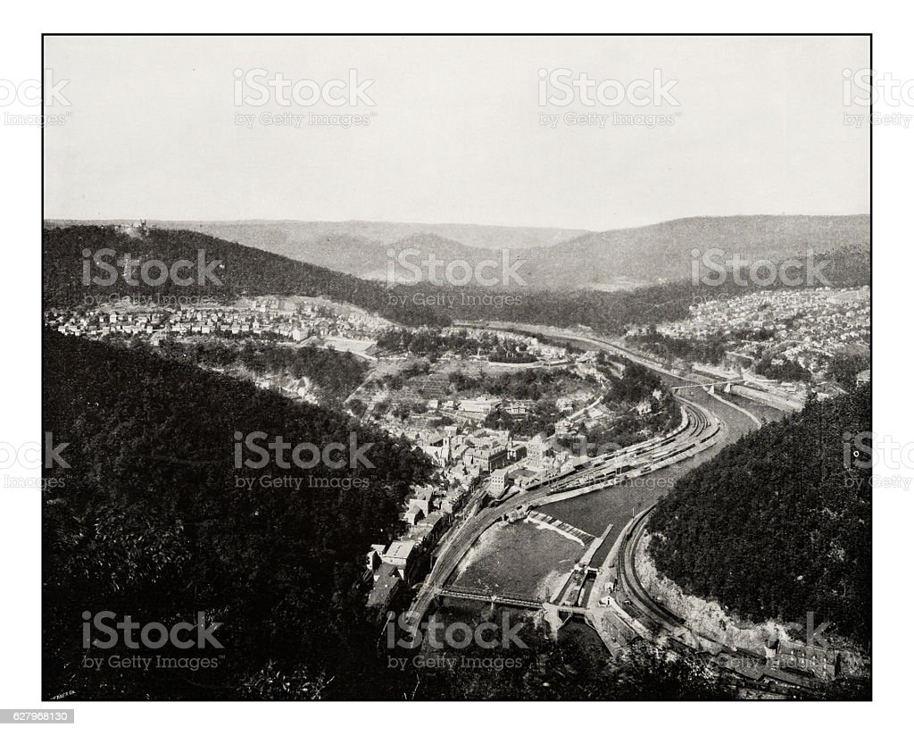 Antique photograph of Great loop at Mauch Chunk, Pennsylvania stock photo