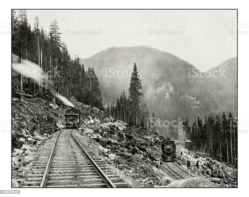 Antique photograph of Great Northern railway stock photo
