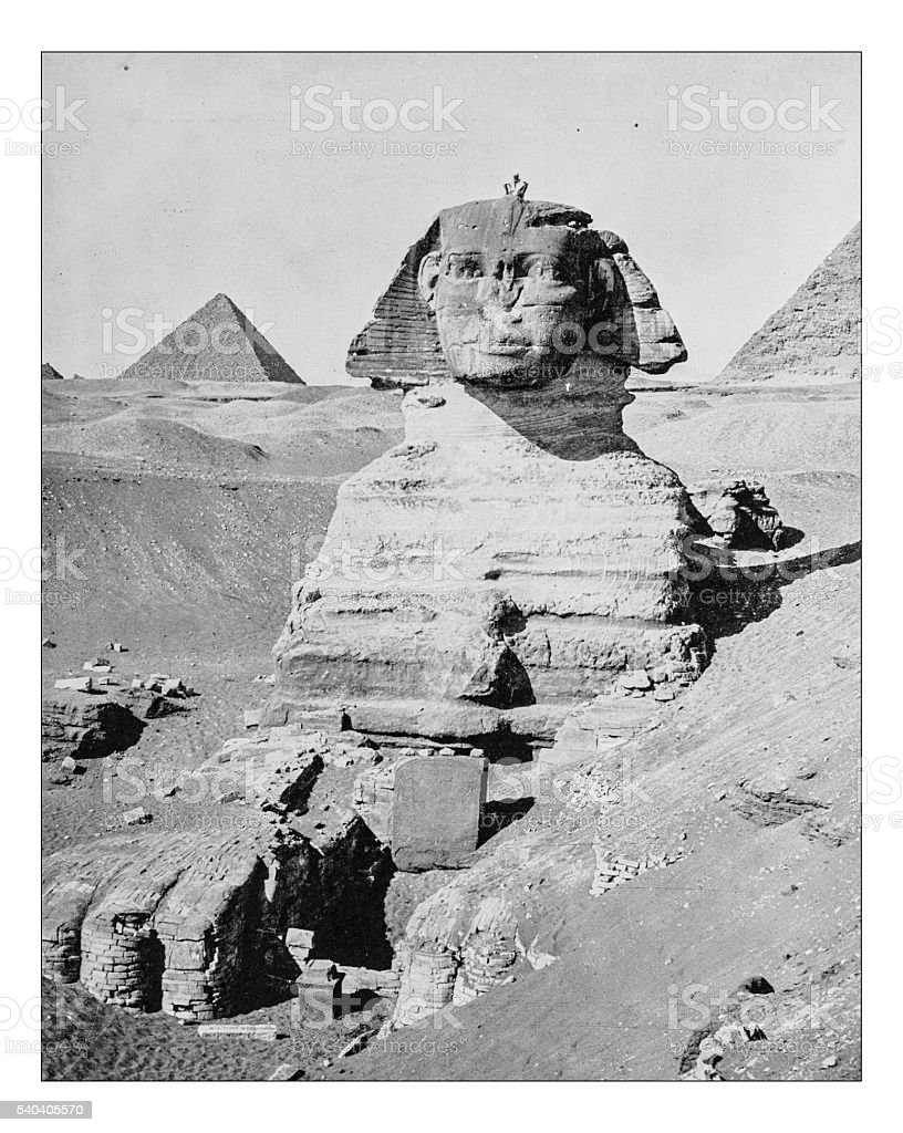 Antique photograph of Great Sphinx of Giza (Egypt,19th century) stock photo