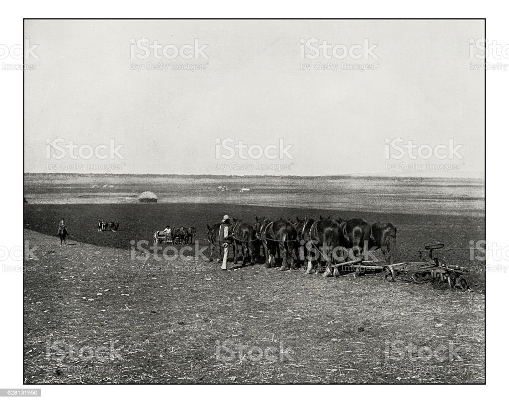 Antique photograph of Green Hills farm near Warwick stock photo