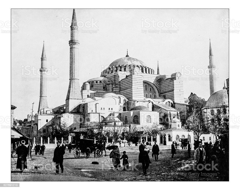 Antique photograph of Hagia Sophia (Istanbul, Turkey)-19th century stock photo