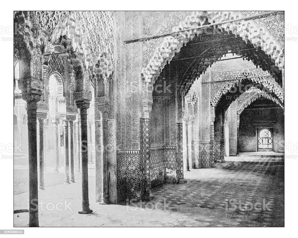 Antique photograph of Hall of Justice in the Alhambra, Granada stock photo
