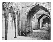Antique photograph of Hall of Justice in the Alhambra, Granada