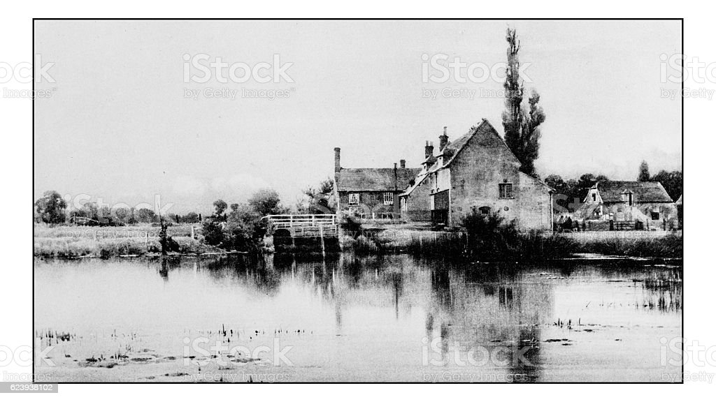 Antique photograph of Hobbies and Sports: Fishing lake landscape stock photo