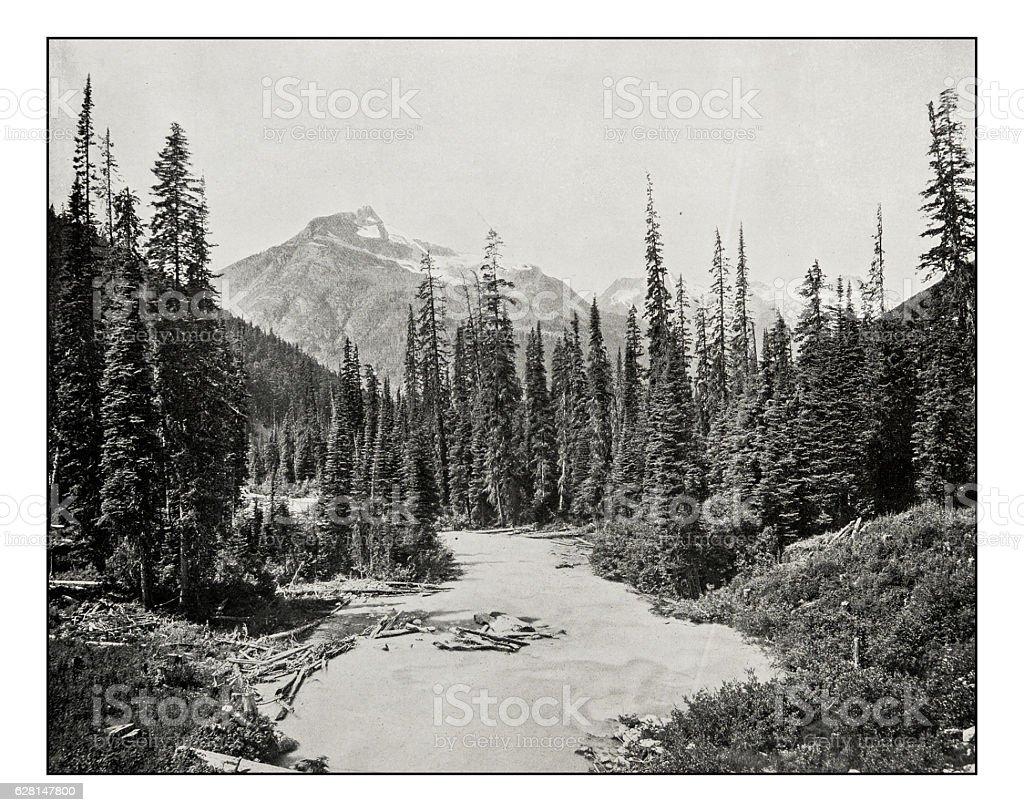 Antique photograph of Illecillewaet river stock photo