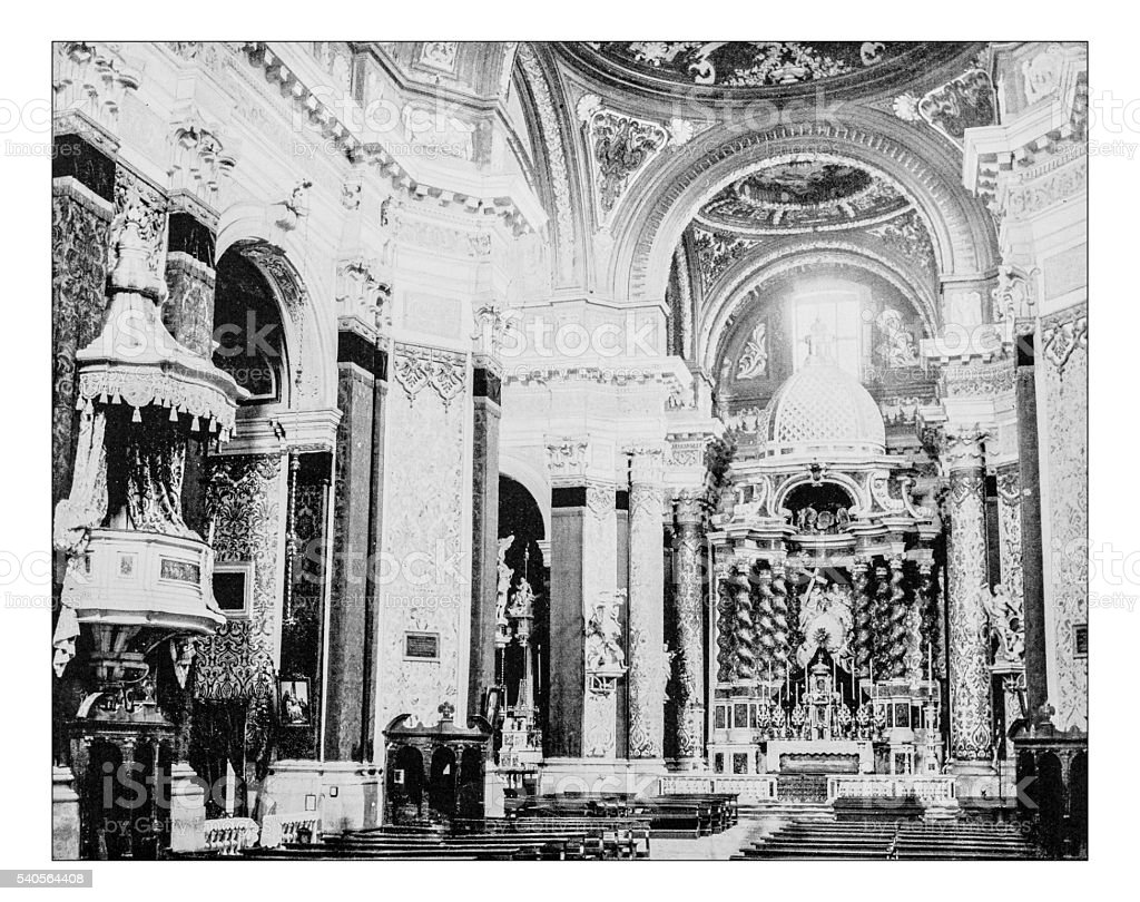Antique photograph of interior of I Gesuiti church(Venice,Italy)-19th century stock photo