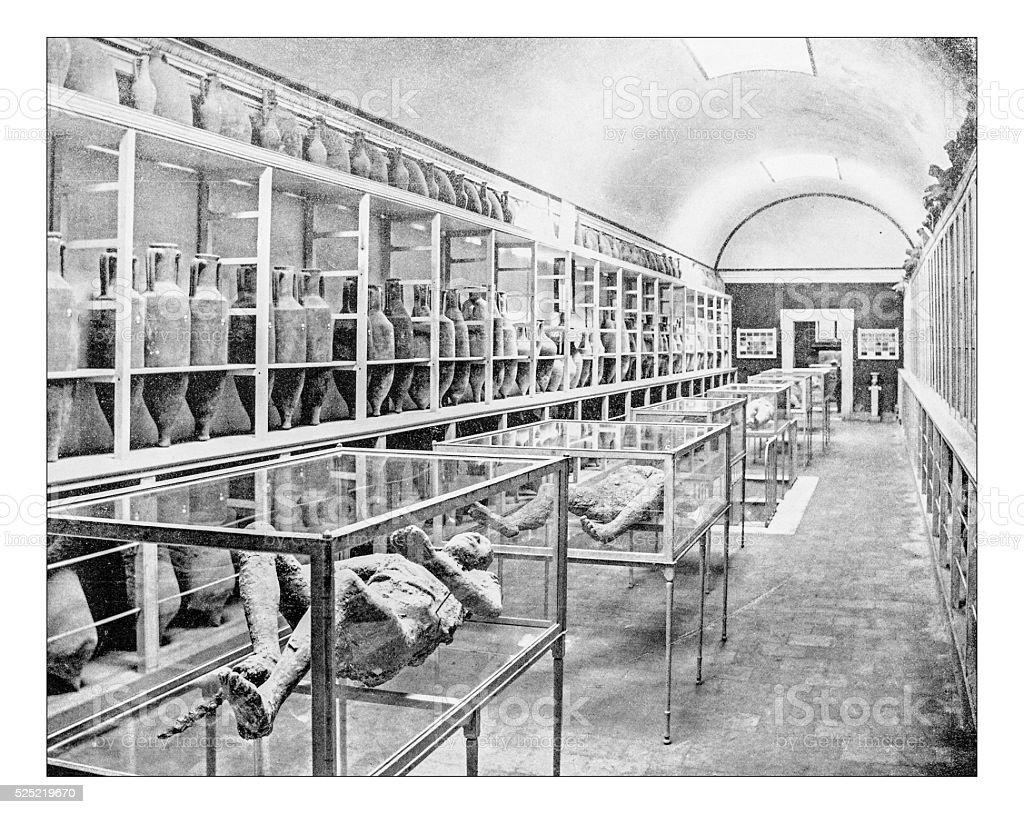 Antique photograph of interior of the Pompeiian Museum (19th century) stock photo
