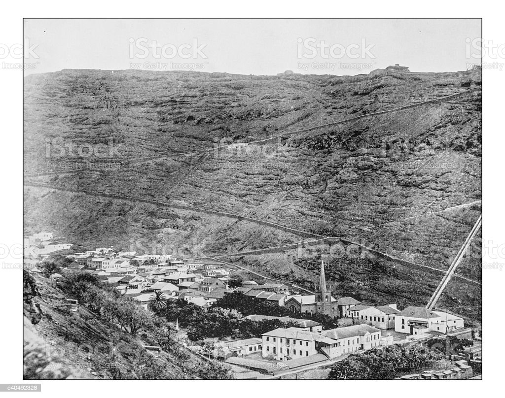 Antique photograph of island of Saint Helena (Great Britain)-19th century stock photo