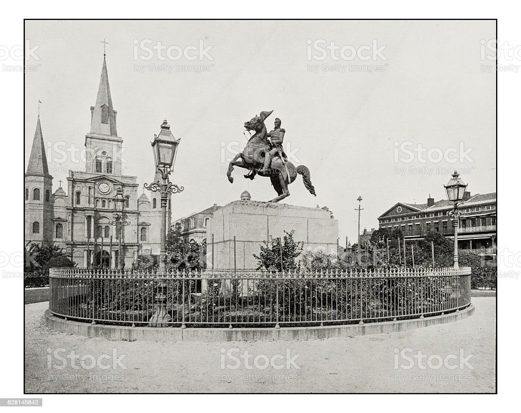 Antique photograph of Jackson Square, New Orleans stock photo