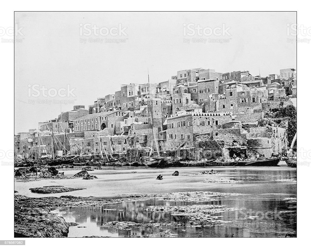 Antique photograph of Jaffa and its port (Tel Aviv-Jaffa-Israel)-19th century stock photo