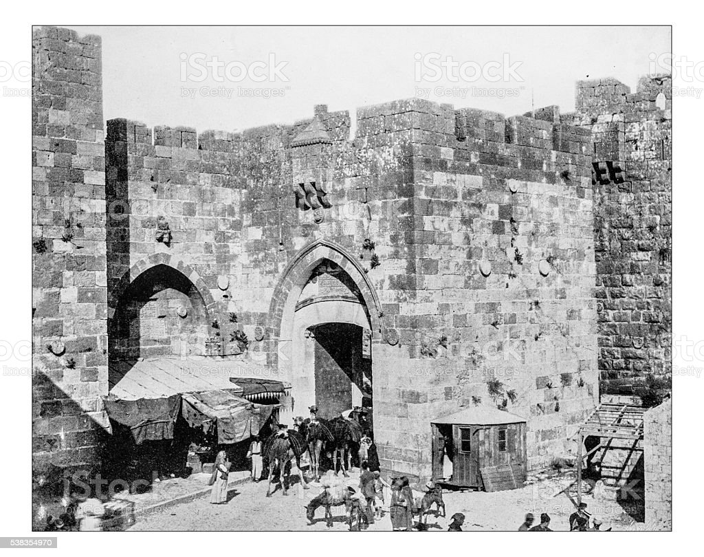 Antique photograph of Jaffa Gate (Jerusalem-Israel),19th century stock photo