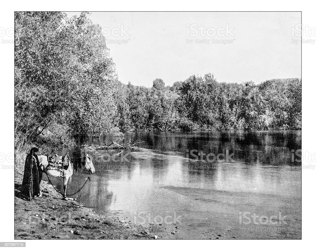 Antique photograph of Jordan River (Palestine,19th century) stock photo