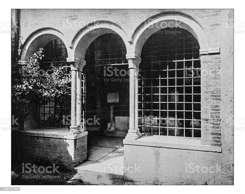 Antique photograph of Juliet's Tomb in Verona (Italy)- 19th century stock photo