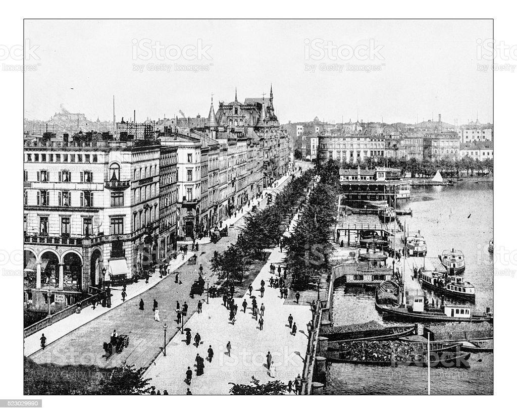 Antique photograph of Jungfenstrasse (Hamburg, Germany), 19th century stock photo