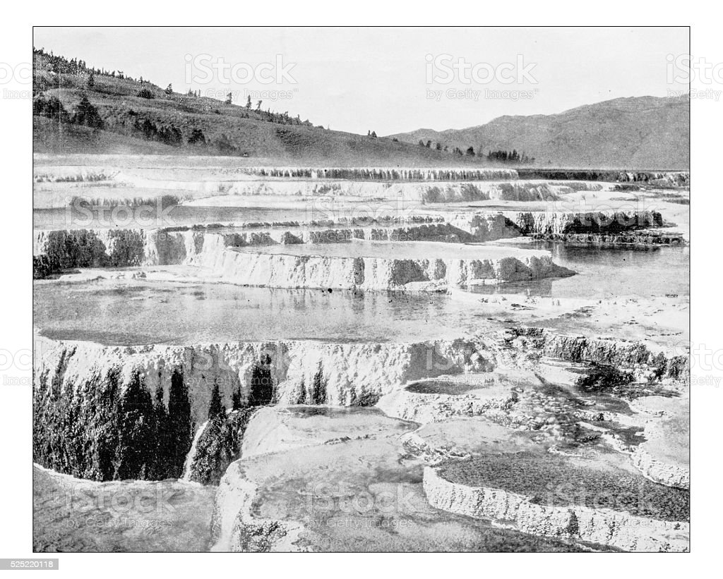 Antique photograph of Jupiter Terrace (Yellowstone National Park, Wyoming, USA) stock photo
