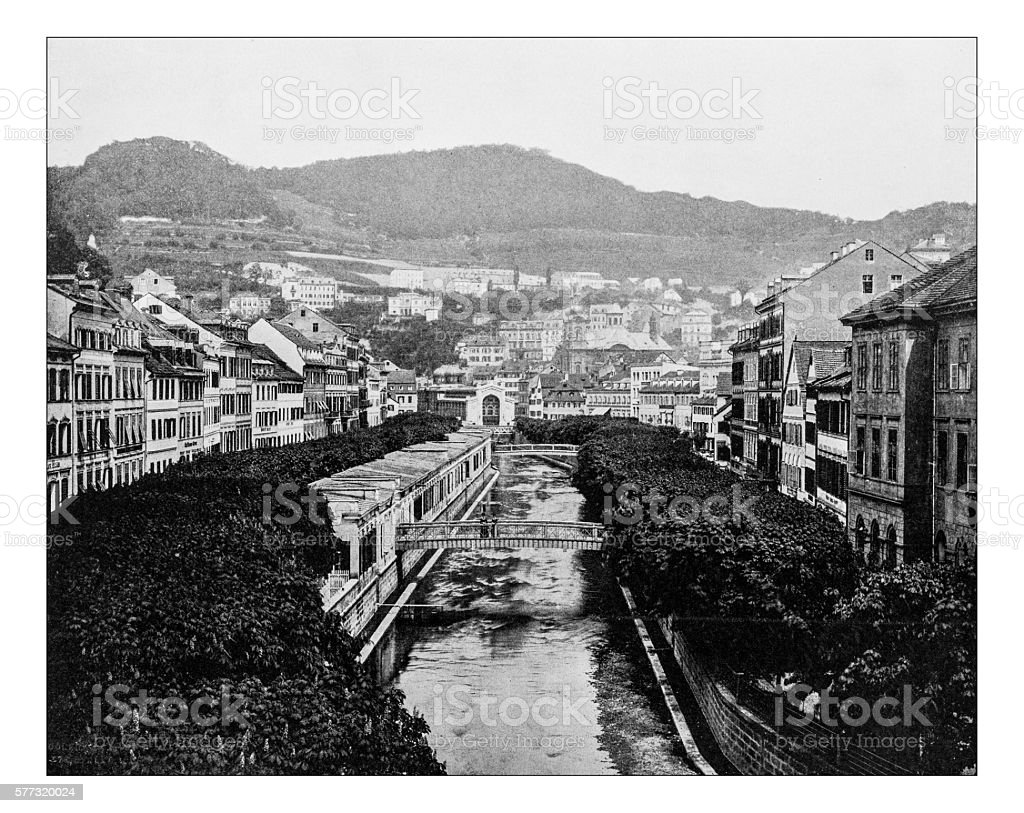 Antique photograph of Karlovy Vary or Carlsbad (Czech Republic)-19th century stock photo