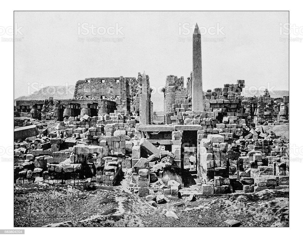 Antique photograph of Karnak Temple Complex (Egypt)-19th century stock photo