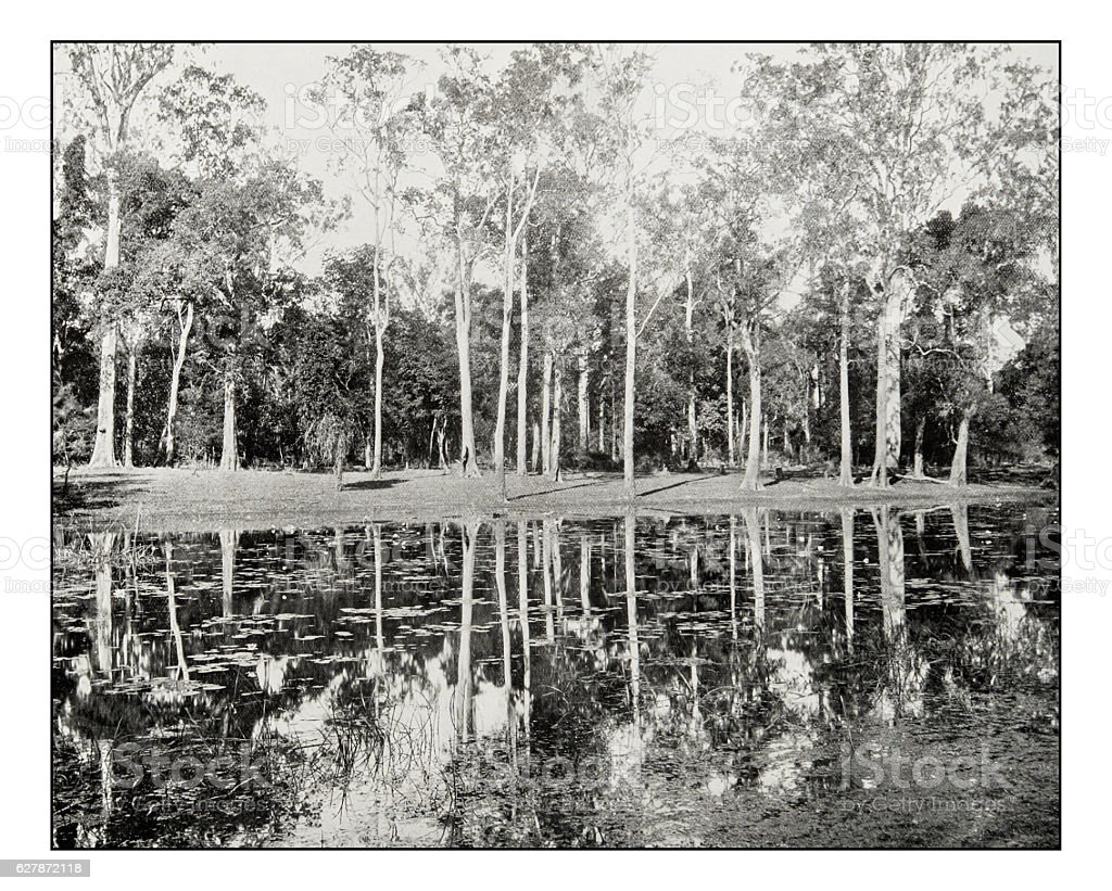 Antique photograph of Lagoon on the Clarence River stock photo