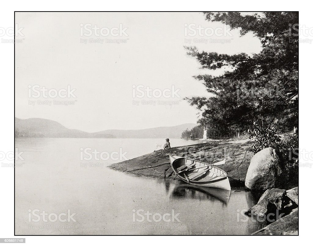 Antique photograph of Lake George stock photo