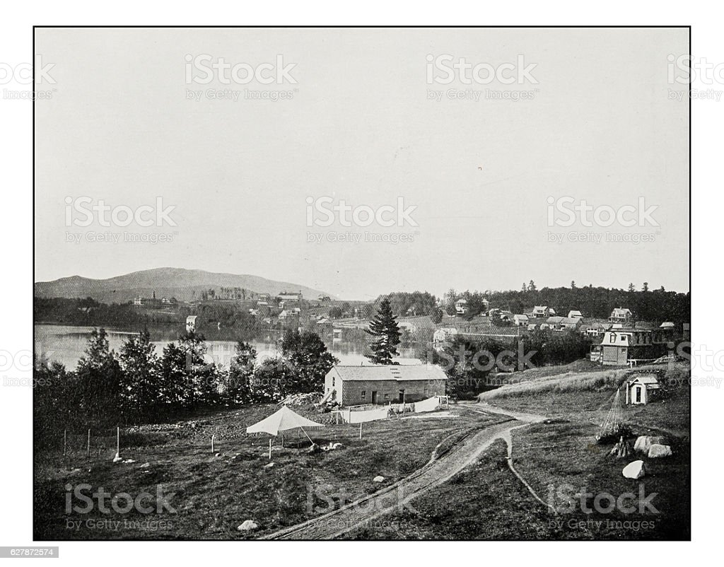 Antique photograph of Lake Placid stock photo
