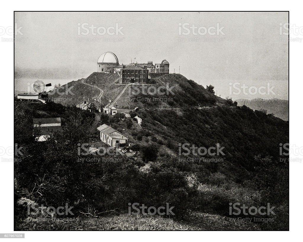 Antique photograph of Lick Observatory, Mount Hamilton, San Jose, California stock photo