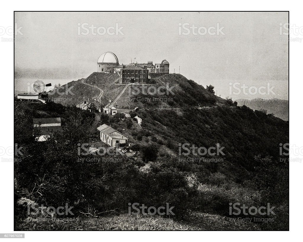 Antique photograph of Lick Observatory, Mount Hamilton, San Jose, California stock photo