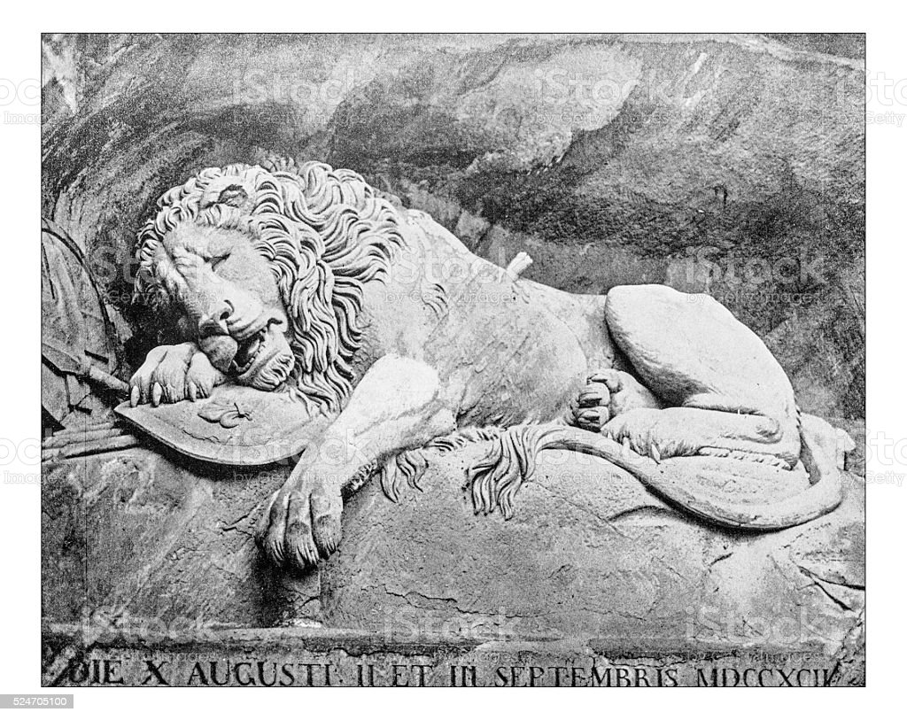 Antique photograph of Lion of Lucerne (Switerland) stock photo