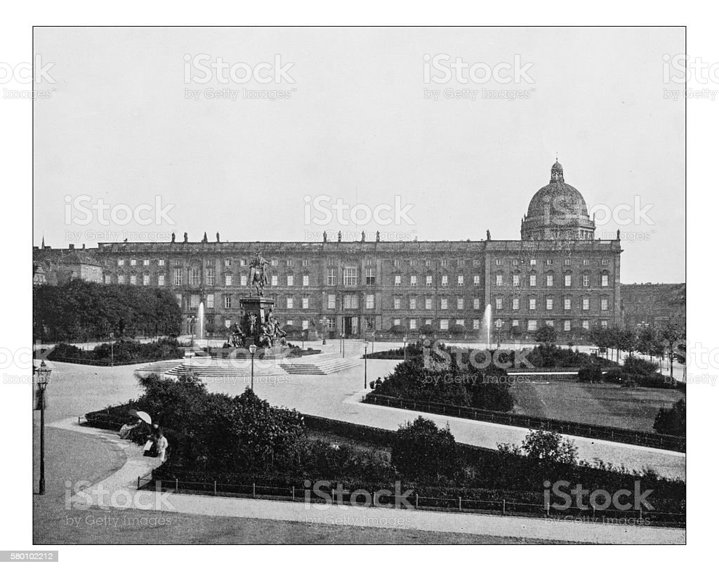 Antique photograph of Lustgarten park and City Palace (Berlin-Germany)-19th century stock photo